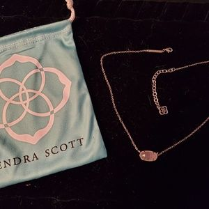 Kendra Scott Rose Quartz Gold Elisa Necklace